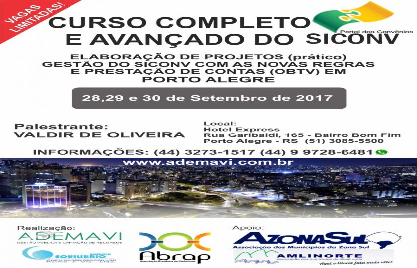 CURSO COMPLETO E AVANÇADO DO SICONV EM PORTO ALEGRE – RS.