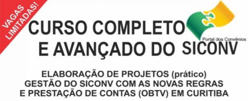 CURSO COMPLETO E AVANÇADO DO SICONV EM CURITIBA – PR