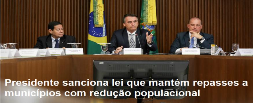 Presidente sanciona lei que mantém repasses a municípios com redução populacional